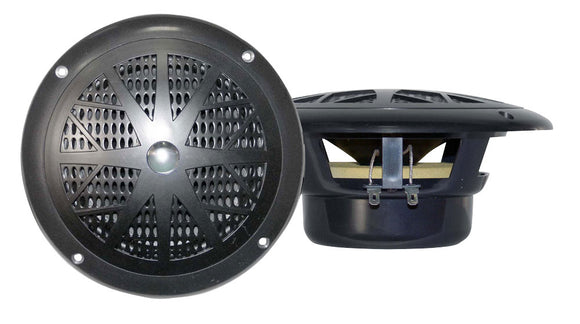 Pyle PLMR41B Dual 4.0'' Waterproof Marine Speakers, 2-Way Full Range Stereo Sound, 100 Watt, Black (Pair)