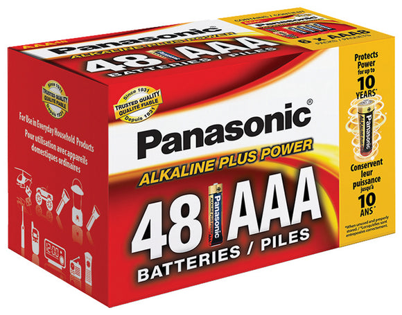 Panasonic Alkaline Size AAA Plus Power (48-Pack) Blister Box LR03PA48PC