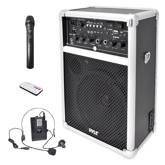 Pyle PWMA170 400 Watt Wireless PA System w/ 2 VHF Wireles Microphones