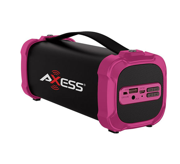 AXESS SPBT1073PK Outdoor Bluetooth Speaker 3.5 AUX Recharge Batt Subwoofer Pink