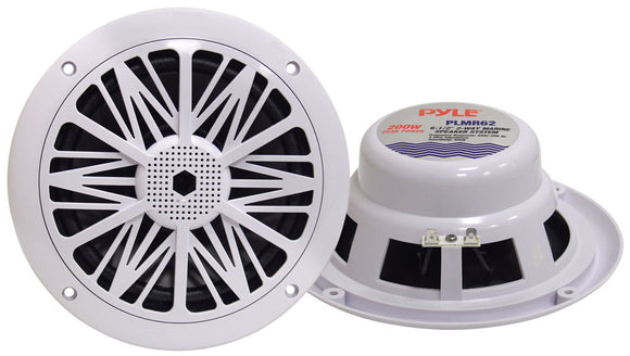 Pyle PLMR62 Dual 6.5'' Water Resistant Marine Speakers, 2-Way Full Range Stereo Sound, Built-in Tweeters, 200 Watt, White (Pair)