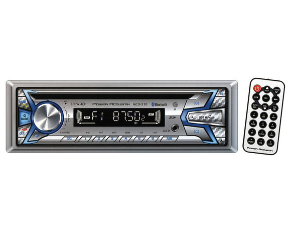 Power Acoustik MCD51B CD/MP3 Receiver AM/FM USB Aux Bluetooth