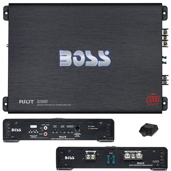 BOSS AUDIO R2000M Riot 2000-Watt Monoblock, Class A/B 2 to 8 Ohm Stable Monoblock Amplifier with Remote Subwoofer Level Control