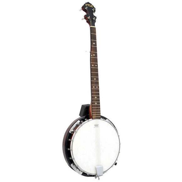 Pyle PBJ60 5 String Banjo Chrome Plated with Mahogany Rosewood & Maplewood