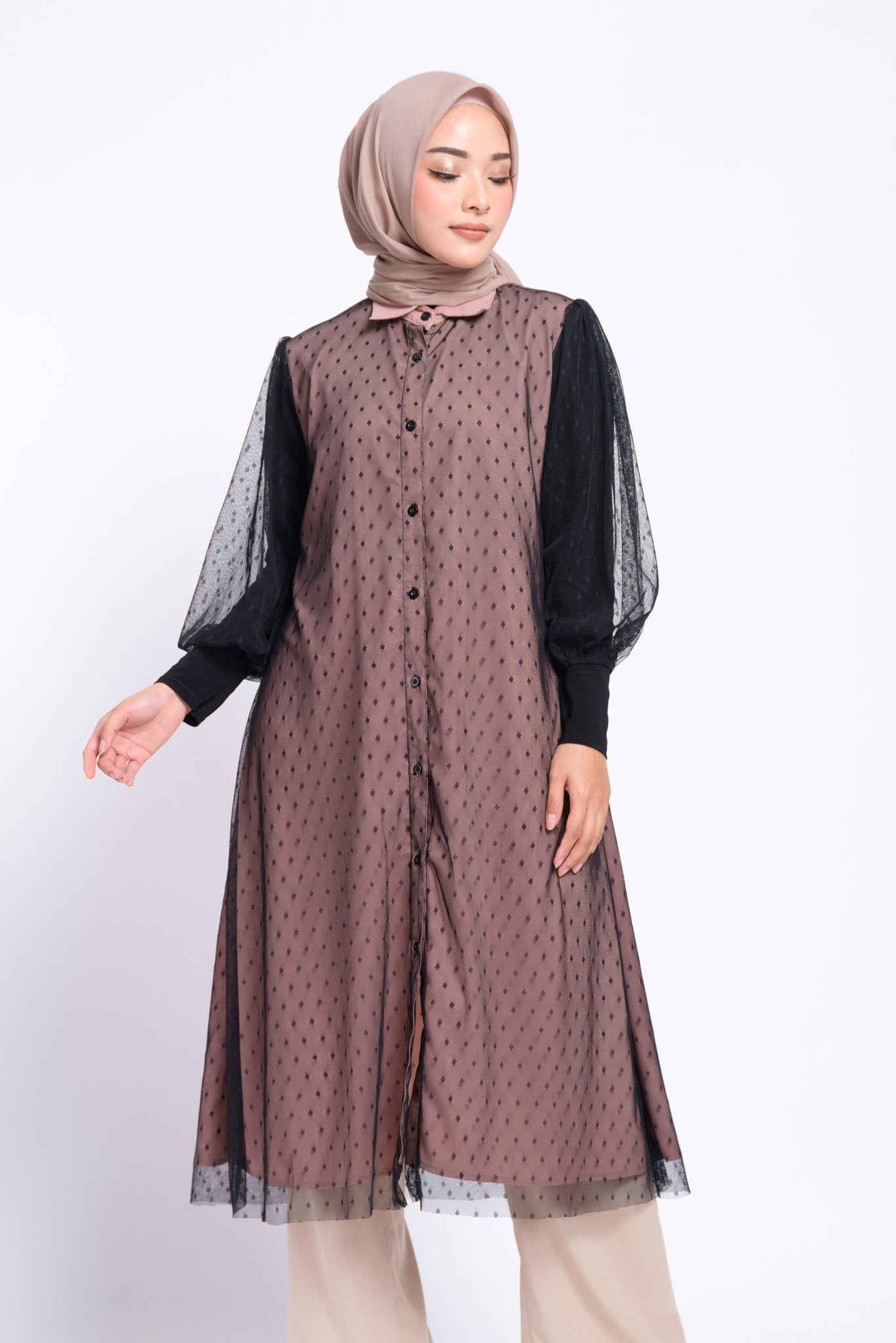 BIA by Zaskia Mecca - Oshea Dusty Pink Black Tunik