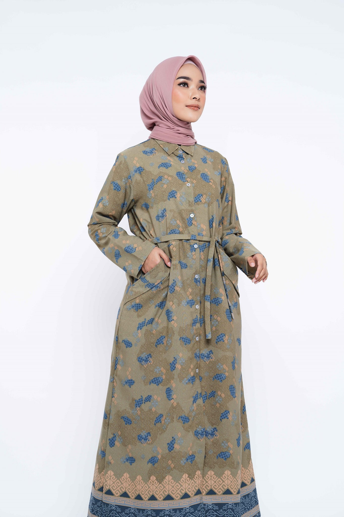 ZM- Halia Olive Dress - Jelita Indonesia - Edisi Makassar