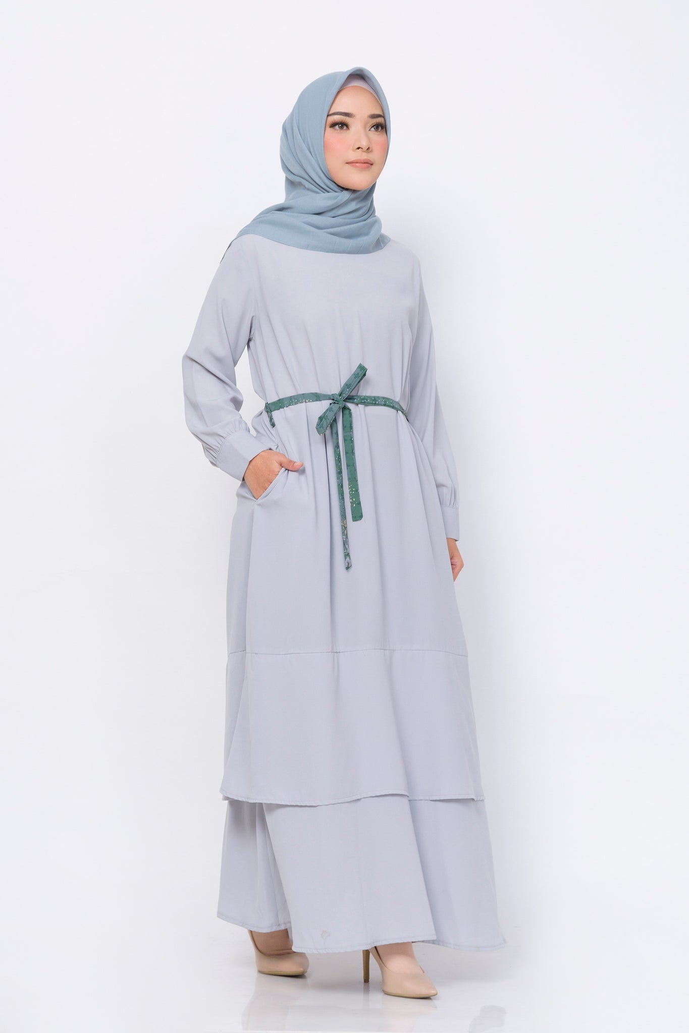 ZM - Kaici Grey Dress - Jelita Indonesia - Edisi Pulau Bangka