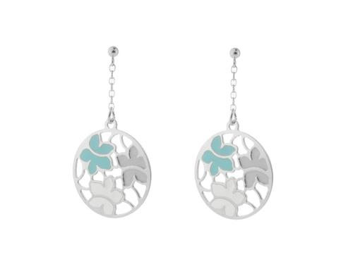 Etruscan-Inspired Silver and Turquoise Flower Earrings