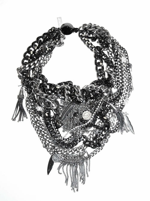 Maiden-Art Gunmetal & Silver Bib Necklace