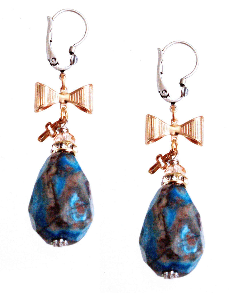 Maiden-Art Blue Agate Stone Earrings