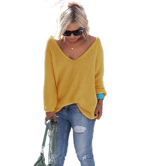 yellow v-neck long sleeve sweater