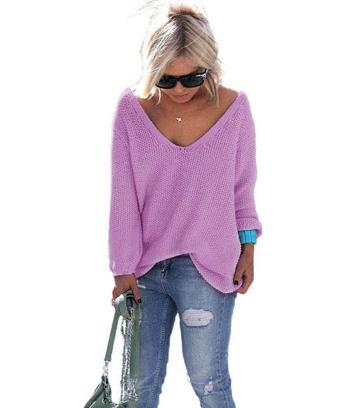 purple v-neck long sleeve sweater