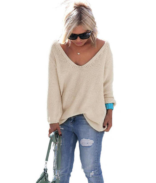 honey colored v-neck long sleeve sweater