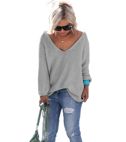 grey v-neck long sleeve sweater