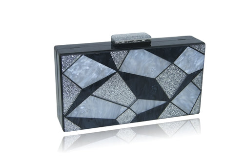 Black and silver geometric clutch side view