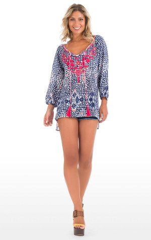Blue pink and white boho long sleeved blouse