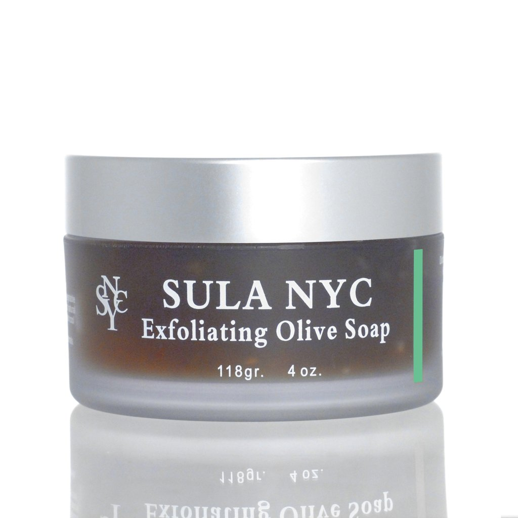 Jar of exfoliating olive soap