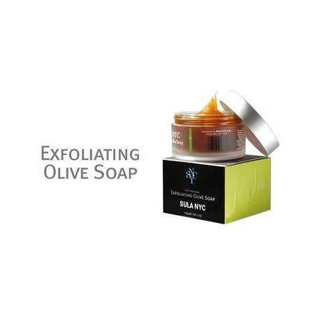 Jar of exfoliating olive soap with boxed packaging