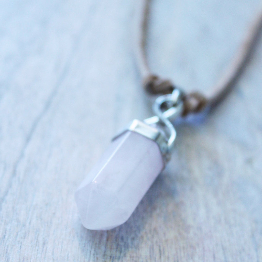 Rose Quartz Pendant Necklace with Vegan Suede