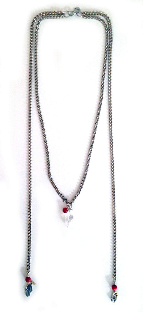 Maiden-Art silver, coral and charm necklace