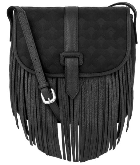 Black cross body small purse with fringe