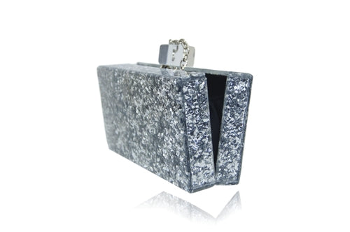 Silver glitter clutch open view