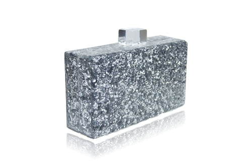 Silver glitter clutch closed view