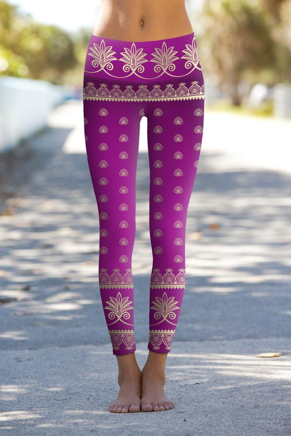Purple and light gold yoga leggings