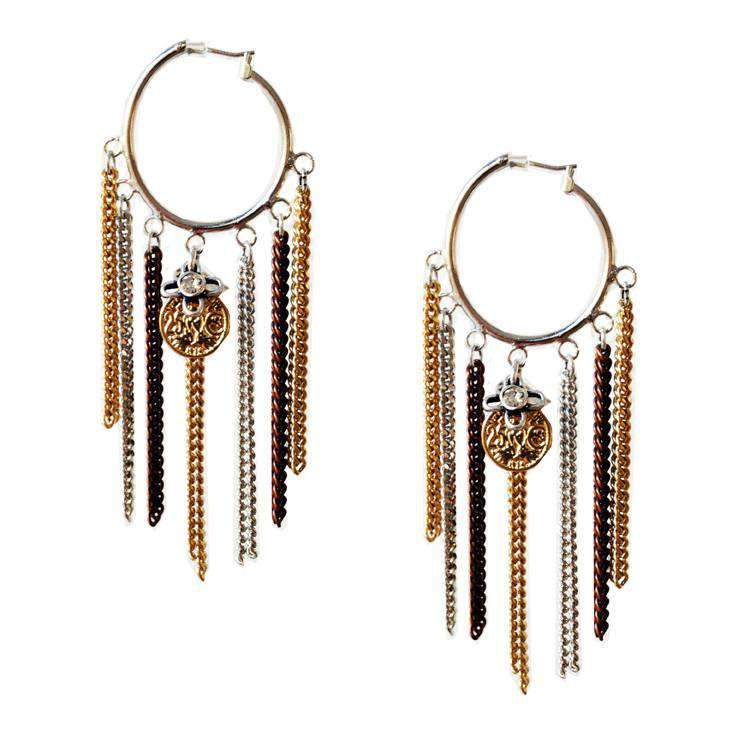 Maiden-Art hoop earrings with fringes and chains