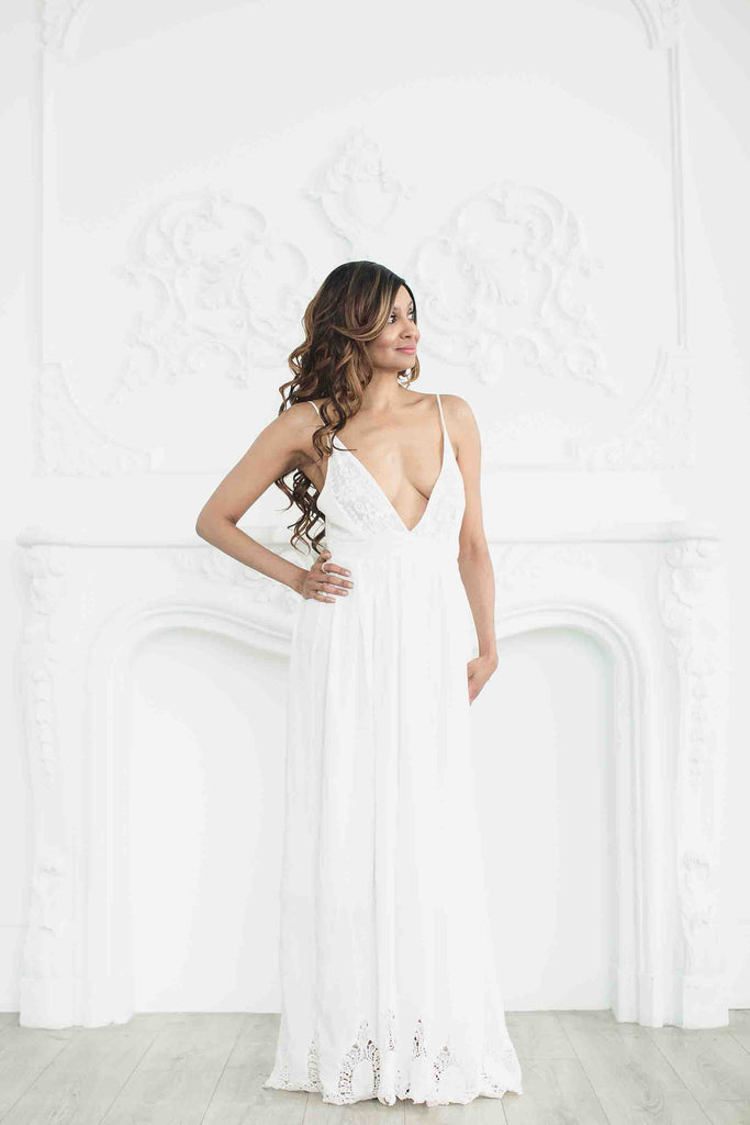 White bohemian maxi dress by Zaimara alternate view
