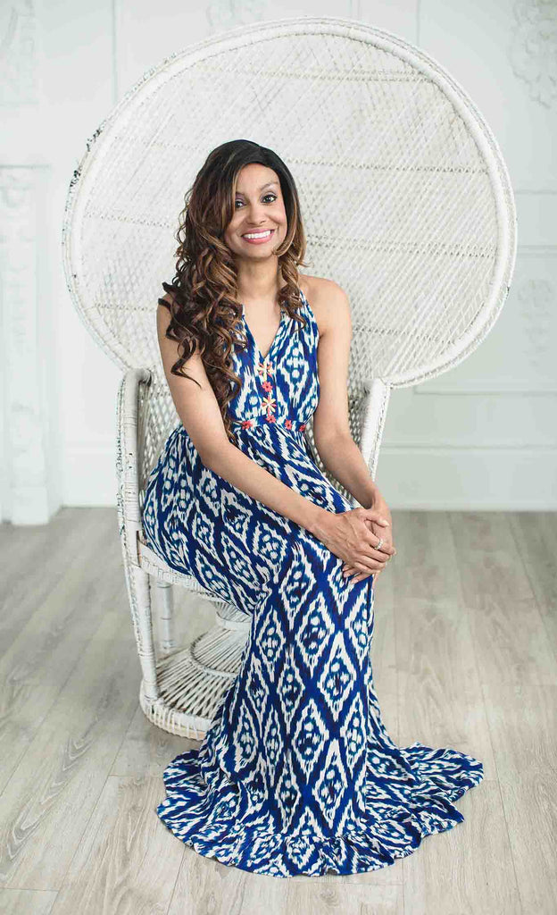 Blue and white Mayan Maxi From Zaimara