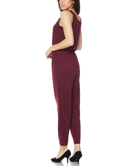 Burgundy casual jumpsuit back and side view