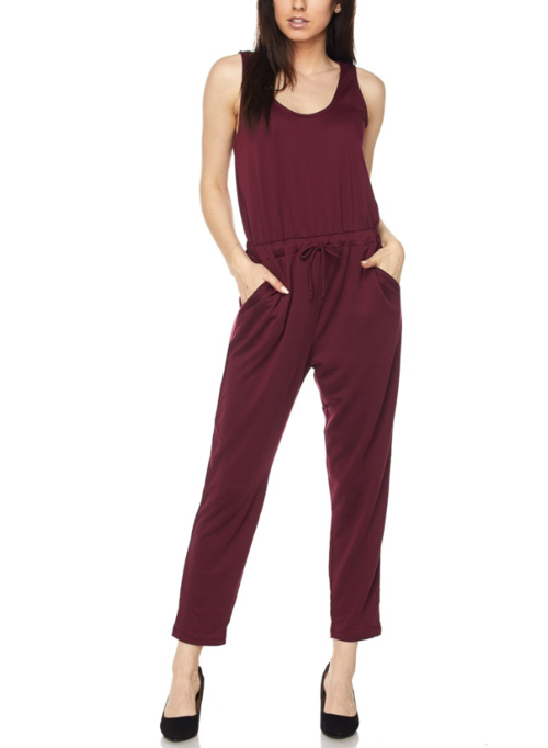 Burgundy casual jumpsuit