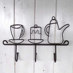 Kettle and Cup Shaped Iron Kitchen Wall Hanger