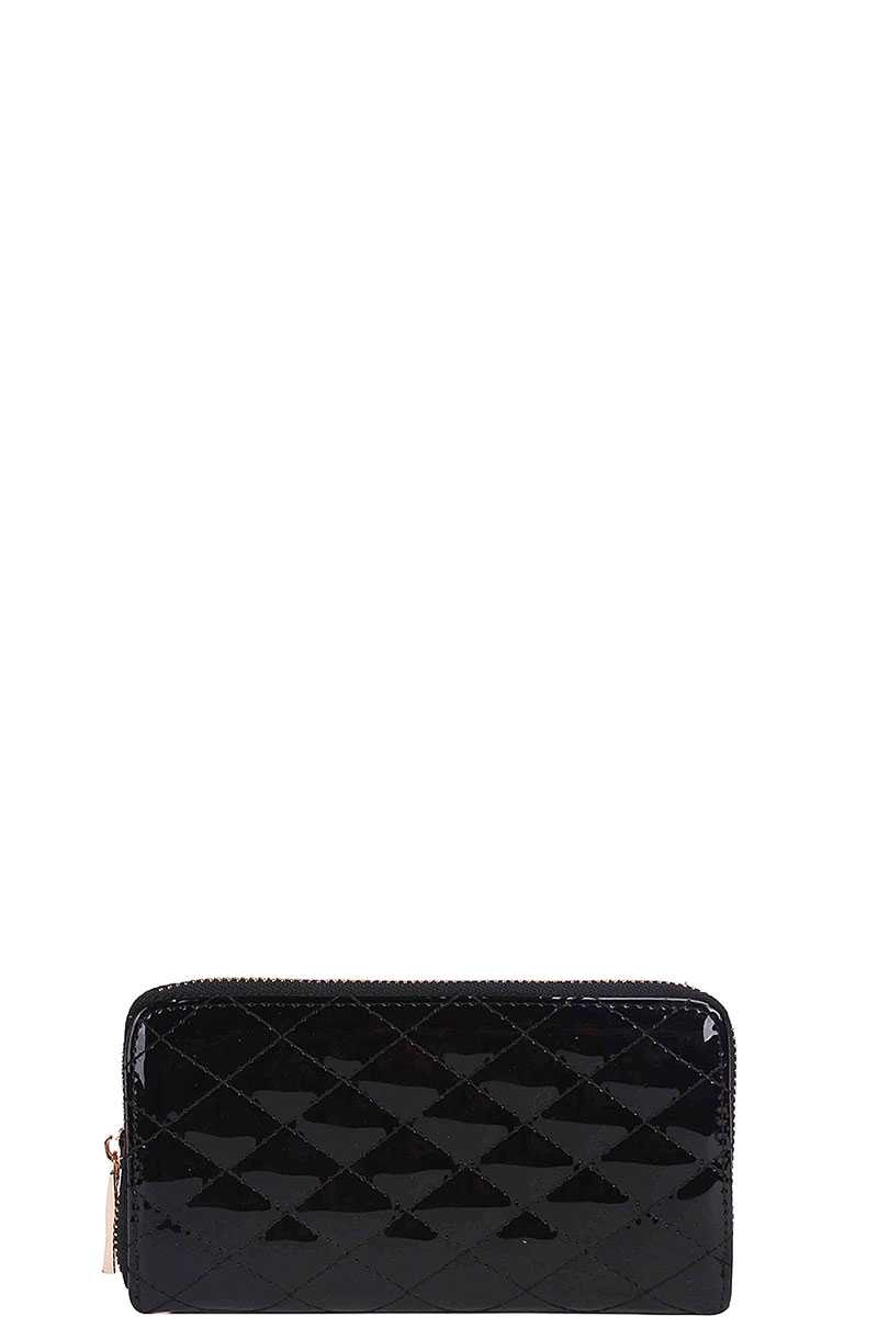 Fashion Glossy Stitched Long Wallet With Hand Strap