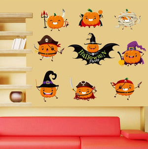 Lovely Pumpkin Wall Stickers Halloween Shop Glass