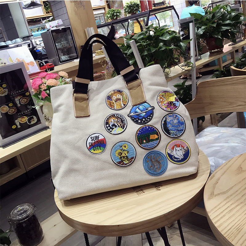 Embroidered Large Hand Bag