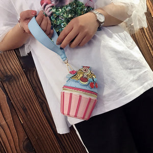 Thailand niche candy color hand-embroidered cupcakes styling hand bag purse shoulder mini bag