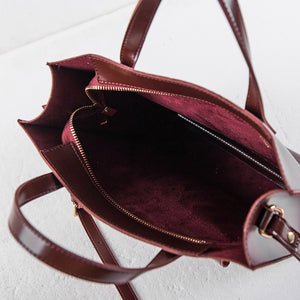 Glossy Leather Hand Bag