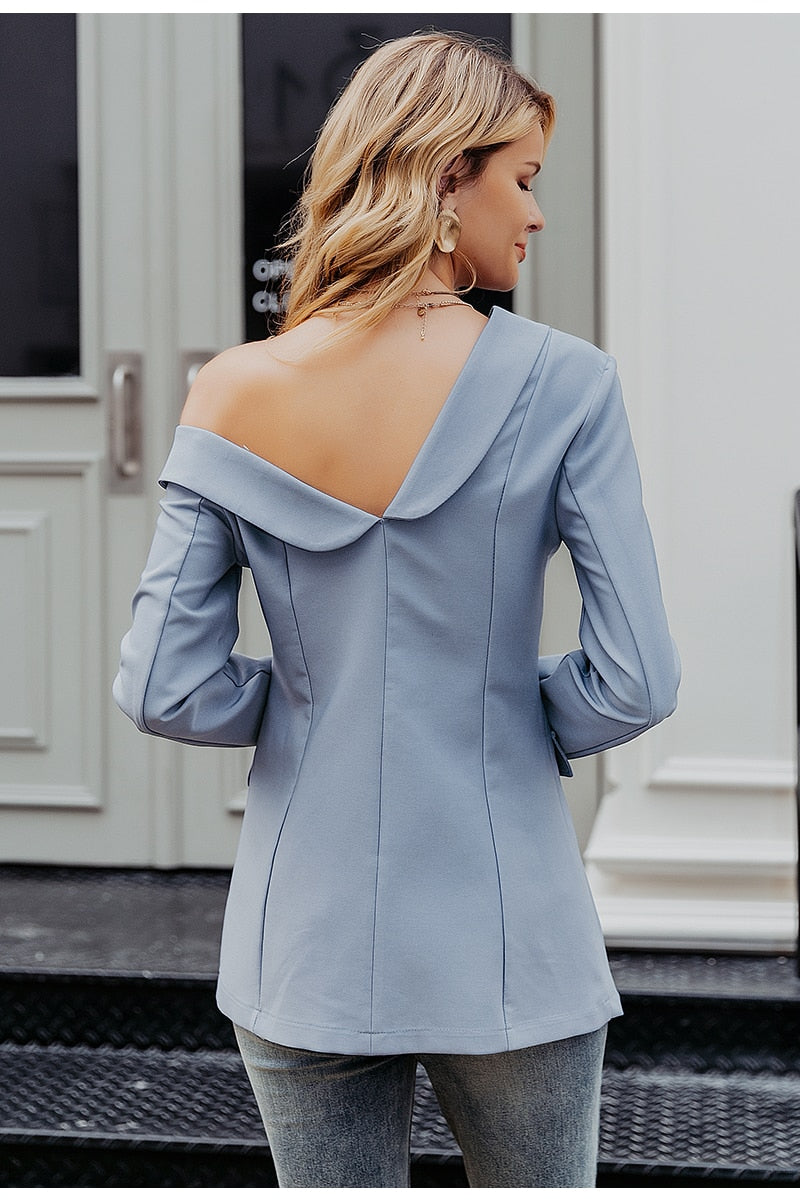 Simplee Sexy One Shoulder Blazer