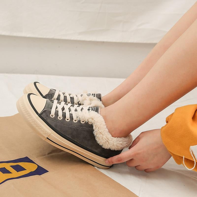 Winter Woman Thick Warm Canvas Fashion Sneakers -  AboutTheSHOES