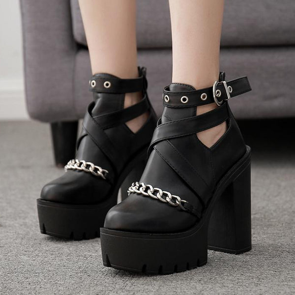 Chain Women Shoes Zipper Square High Heel Ankle Boots -  AboutTheSHOES