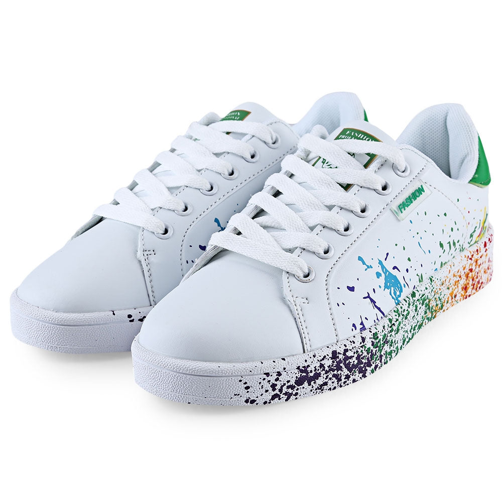 Casual Paint Splashing Decoration Ladies Lace Up Sneaker -  AboutTheSHOES
