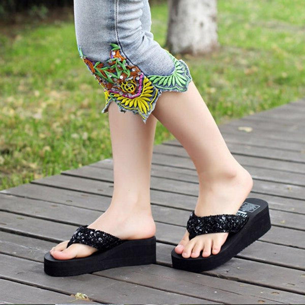 Sequins Beach Flip Flops  Casual Women Wedges Platform Slippers -  AboutTheSHOES