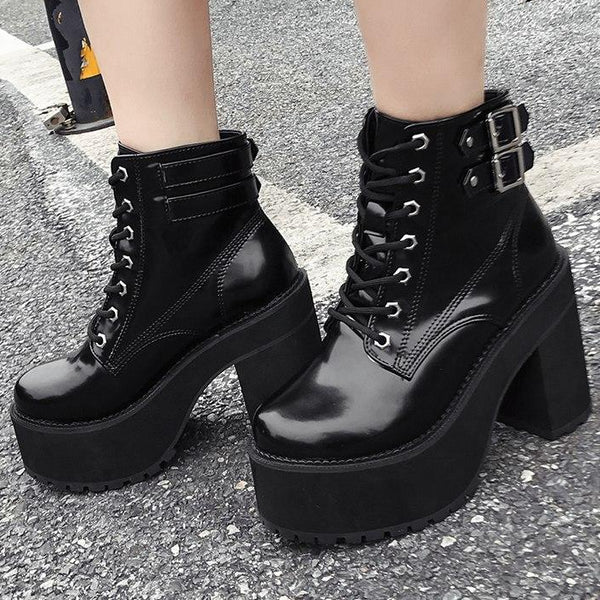 New Arrival Boots PU Leather Black Buckle Ankle Boots -  AboutTheSHOES