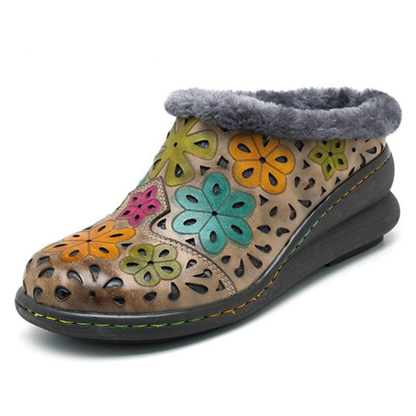 Vintage Printed Plush Inner Winter Snow Shoes -  AboutTheSHOES