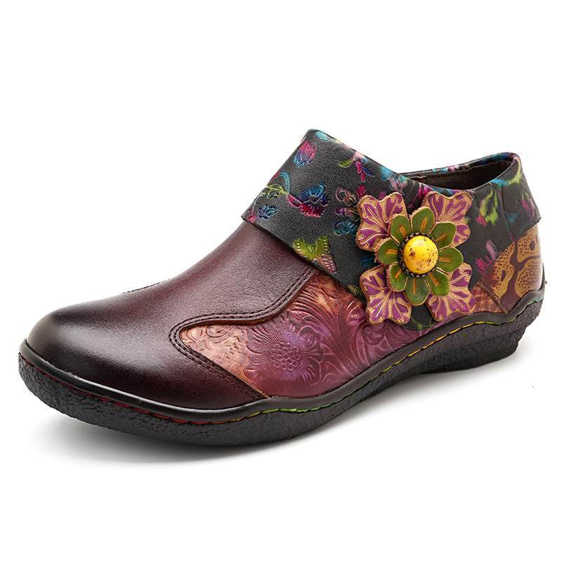 Splicing Women Zipper Vintage Flower Flats -  AboutTheSHOES
