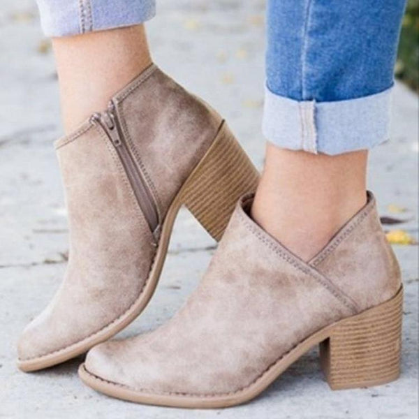 Chic Autumn Women Shoes Retro High Heel Ankle Boots -  AboutTheSHOES