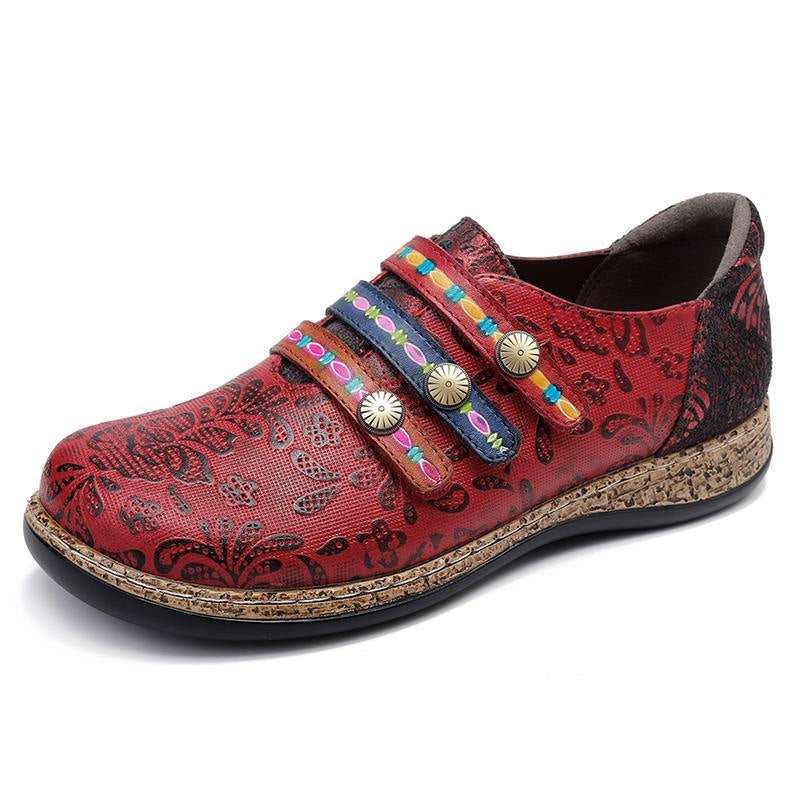 Spring Comfy Retro Colorful Hook Loop Splicing Lace Stitching Flats -  AboutTheSHOES