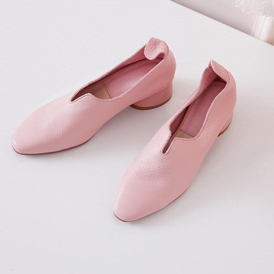 Ruffles Square Toe Slip-On Handmade Women's Pumps -  AboutTheSHOES